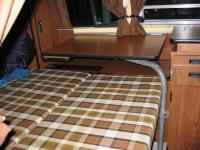 Late Westy bed folded down with table