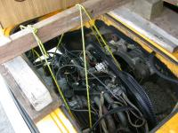 Installing an engine with a rope sling