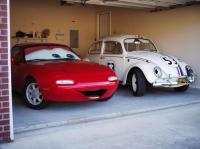 Herbie hanging with Mia from the Movie CARS