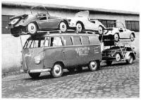 VW Bus Delivering Kleinschnittger Cars from Factory