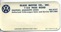 Dealership Card For Glass Motor Company