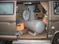 big ole' compressor coming home in the van