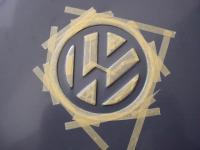 prep masking the vw logo on round toolbox