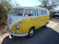 Yellow & White walk-thru Bus