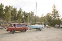 van tows boat