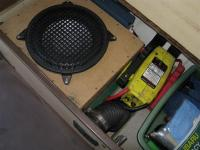 "10"" Sub and Propex heater under bench seat"