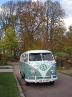 61 patina bus from San Diego now in Denmark