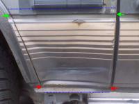 dented quarter panel section