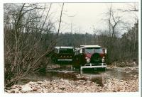 Old Red, stuck in a creek bed.