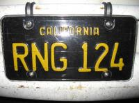 stolen vintage California plate RNG124 from 1965 bus