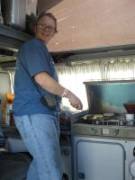 Making breakfast in the Vanagon Westy