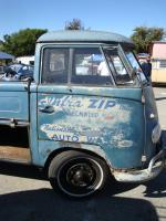 Blue Single Cab with logos