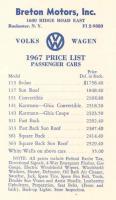 1967 price list
