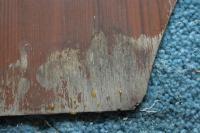 77 Westfalia interior wood panel with wood graining coming off