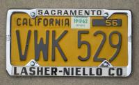 Early California license plate frame