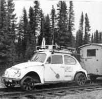 Railroad bug, Logo'd, trailer, roof rack, wheels