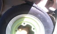 Heat blown new spare tire.