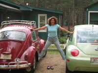 My wife with our Beetles