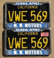 Oakland dealership license plate frames M. W. Motors Volkswagen