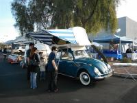 Beetle with tent and trailer