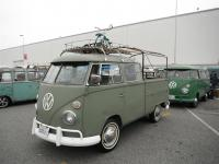 Green Double Cab with rack and hoops