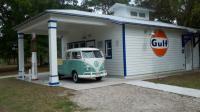 Elvis at vintage gas station