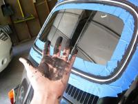 Latex caulk rear window